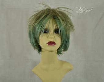 Short Pastel Green Wig | Short Wig | Green Wig | Festival Wig | Party Wig | Cosplay Wig - short wig with high quality synthetic hair