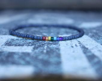 7 Chakra Beaded Bracelet for Men - Unisex Chakra Bracelet - Minimal Seed Beaded Bracelet, Mens gift for him Husband Gift , Mens Seed Bead