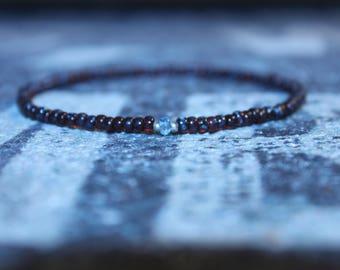 Topaz Bracelet men - Blue Topaz Men's Beaded Bracelet Matte Black - Men's Bead Bracelets, Mens gift for him Husband Gift