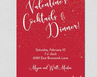 Printable Valentine's Invitation, Printable Valentine Dinner Invitation, Printable Valentine Party Invitation, Adult Valentine Cocktail