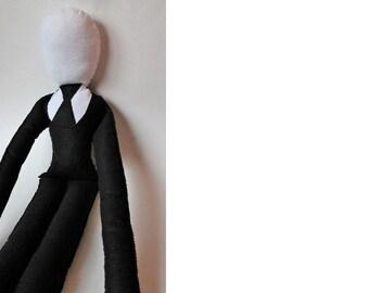Slender Man doll-Very Large Slenderman doll-Slendy style black and white creepy doll-Halloween decor-unusual gifts