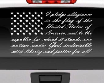 Pledge of Allegiance American Flag vinyl window decal for car, truck, etc. USA patriotic decal