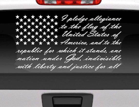 Pledge Of Allegiance American Flag Vinyl Window Decal For Car - Vinyl window decals for trucks