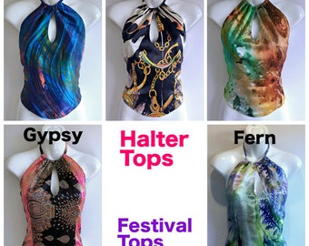 Hand made , one of  kind , Halter neck , Wrap tops / Festival Tops .By Alexandria Hall