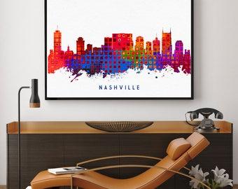 Nashville Skyline Print, Nashville Poster, Watercolor Print, Skyline Wall Decor, Home Art Decor, Tennessee Painting, Nursery Decor (N138)