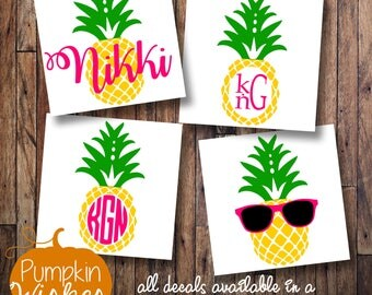 Pineapple Monogram/Pineapple Decal/Pineapple Yeti/Summer Decal/Pineapple Sunglasses/Monogram Decal/Personalized Decal