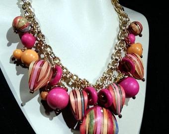 Big and bold Fushia and orange choker, statement Fiesta necklace Cruise Wear Wow Factor