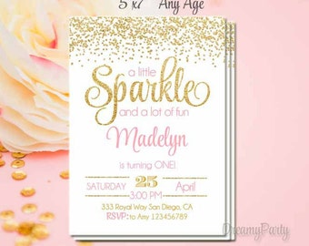 Pink and Gold First Birthday Invitation, Sparkle Invitation, She Leaves a Little Sparkle Invitation, Pink and Gold Invitation,5x7, Printable