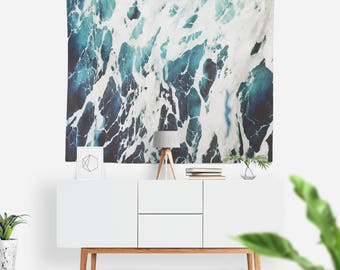 Tide Wall Tapestry | Wall Hanging | Ocean | Abstract Waves Tapestry | Waves Crashing | Extra Large Wall Art | Blue & White Decor | Sea Water