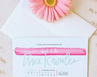 Modern Calligraphy Watercolor Bridal Shower Invitation : DIGITAL LISTING