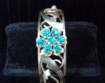 Vintage Cuff Bracelet with Clear Turquoise Stones