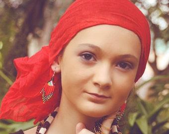 African chandelier earrings- Red