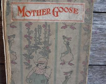 vintage Childrens book Mother Goose Nursery Rhymes Little Bo Peep Little Tommy Tucker bedtime stories nursery decor