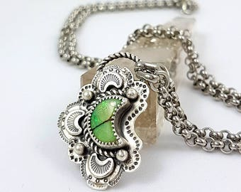 LaoOne * sterling silver necklace * beautiful green Opal Moon dream