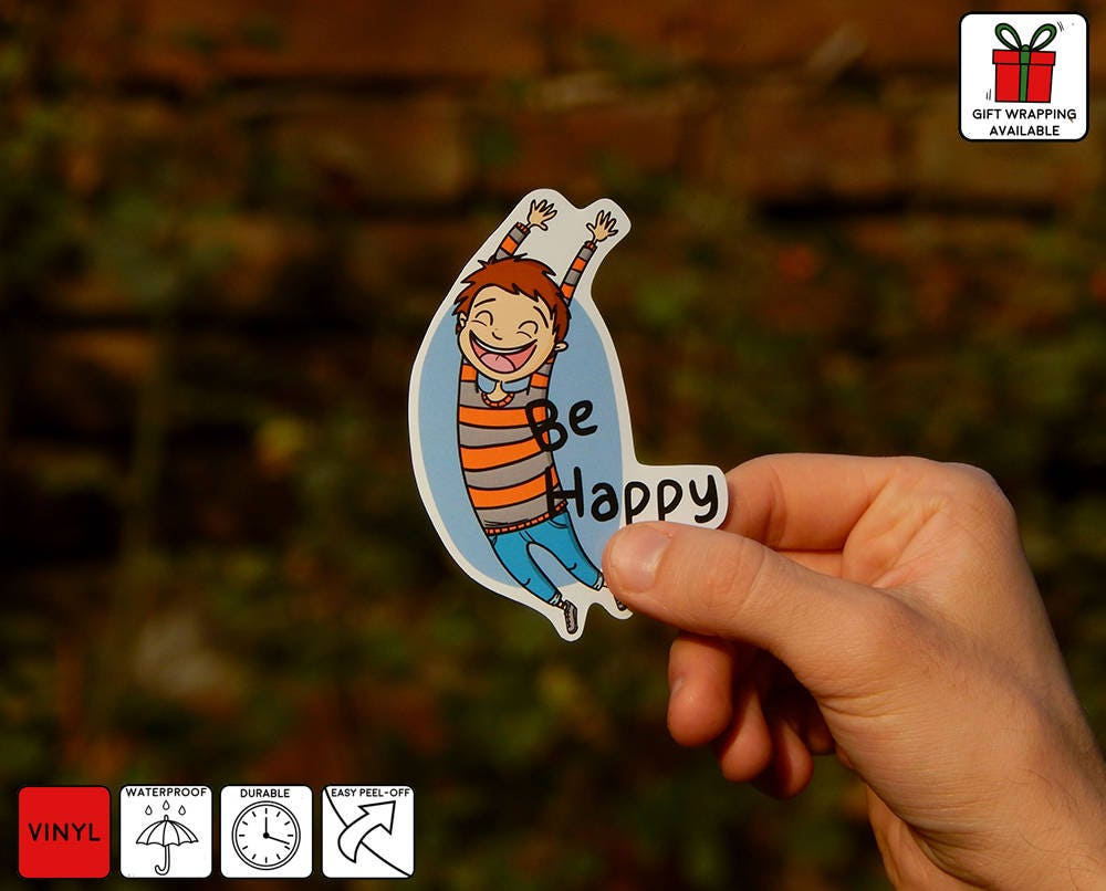 Be Happy Decal Be Happy Laptop Sticker Sign Be Happy - Custom vinyl stickers easy peel off