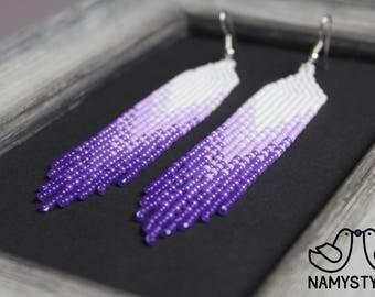 Violet pantone beaded earrings Purple earrings Ultra Violet earrings Long earrings Beadwork jewelry Fringe earrings Seed bead earring Dangle