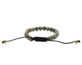 Unakite Hemp Bracelet - Green Bracelet, Cute Hemp Bracelet, Gifts for Her, Gifts for Him, Vegan Jewellery, Beach Bracelet, Cute Bracelet