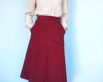 1970s Bobbie Brooks inverted pleat corduroy skirt // xs
