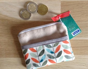 Mini pouch / wallet - orange and blue leaves