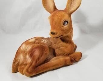 Large Vintage Flocked Deer Figurines of a Fawn.