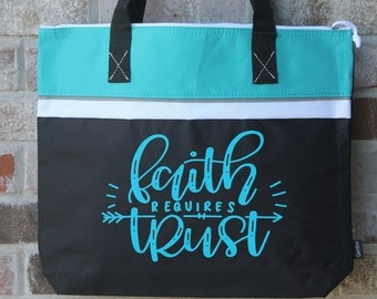Bible bag my redeemer lives bible tote bag easter gift christian gift bag religious gift gift for friend teal tote bag with zipper negle Image collections