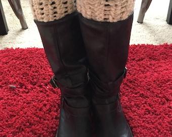 Cream and beige boot cuffs