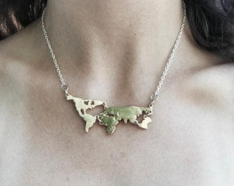 The Wanderluster necklace* beautiful earth* gold globe short necklace* atlas choker* map of the world necklace gold and silver