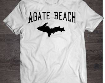 Agate beach shirt, white, agate beach, tshirt