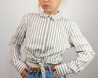 ETERNA Vintage 90's Button-up Striped Shirt / Blouse | Size M-L