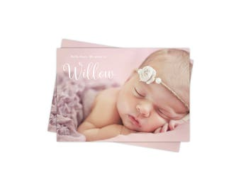 Birth Announcement Card / Thank You Card / With Photo / Double Sided / Printed or Printable