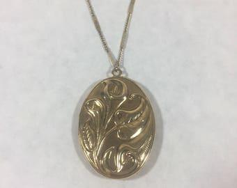 Vintage Gold Locket with Floral Design