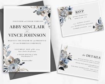 Floral Wedding Set Printable - 3 Piece Wedding Suite - Editable Download - DIY Wedding -  Engagement Invite - Stationary Set Template