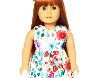 Sleeveless Dress, Mini Dress, Floral, White, Red, Blue, Summer, Fall, American, 18 inch Doll Clothes
