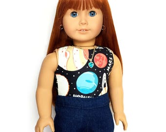 Tank Top, Galaxy, Universe, Outer Space, Planets, Black, White, 18 inch Doll Clothes, Fits dolls such as American Girl, GOTY