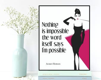 Audrey Hepburn quote, Fashion wall art, Audrey Hepburn wall art, Fashion decor, Fashion quote, Women gift, Girls room decor, Fashion print