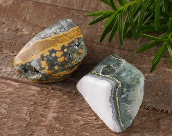 Two Large OCEAN JASPER Stones - Tumbled Stones, Red Jasper, Yellow Jasper, White Jasper, Pocket Stone, Healing Stone, Rocks and Gems E0467