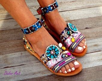 "Leather sandals, ""Majesty"" , 2018 Boho sandals, Handmade sandals , Women's Shoes, Genuine leather shoes,  oriental sandals"