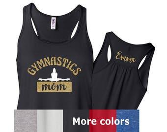 Gymnastics Mom Tank, Gymnastics Mom Personalized Tank, Gymnast Mom Shirt, Cute Gymnastics Mom Tank, Gymnastics Mom Glitter Tank