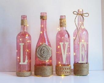 Love Wine Bottle Set, BeautifulPink Rustic Twine Wrapped Wine Bottles
