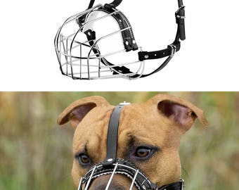 PitBull Dog Muzzle AmStuff Pit Bull Wire Basket Adjustable Leather Straps