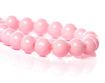 70 beads 6mm pink glass