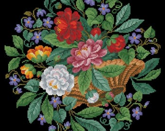 Flower basket with violets vintage berlin woolwork cross stitch pattern Digital Format - PDF
