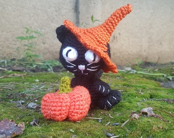 Cat gift Black cat Halloween gift Cat decor Cat lover gift Halloween cat Halloween toy decoration crochet stuffed soft cat pumpkin amigurumi