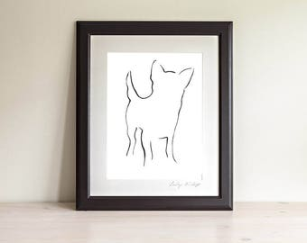 Framed Chihuahua Art Prints, Chihuahua Line Art, Chihuahua Gift, Dog Line Art Print, Minimalist Art, Modern Line Drawing, Dog Lover Gift