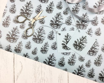 Woodland Gift Wrap / Gift Wrap For Mum / Pine Cone Wrapping Paper / Gift Wrap with Ribbon / Luxury Gift Wrap Set / Birthday Gift Wrap Set