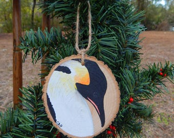 Penguin Hand painted wood slice ornament