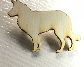 Wooden alsation dog silhouette brooch pin in birch ply, German Shepherd, gift for dog lover, alsation pin, dog pin,