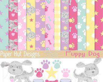 Puppy Dog Clipart and Dog Digital Papers Set -Puppy Clip Art- Dog Clipart-Puppy Dog digital papers Pet dog digital graphics-paw print-bone