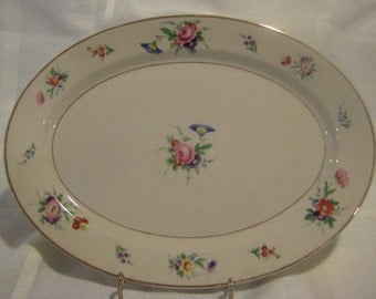 "Old ivory ""Selma""? 12"" oval platter by Syracuse China Co. Made in America OPCO - pink, purple, blue and orange flowers"