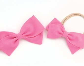 Pink Hair Bow, Girls fabric bow, toddler, baby shower -Pink Bow